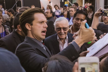 Sebastian Stan and Stan Lee at the Captain America Civil War Premiere in Hollywood