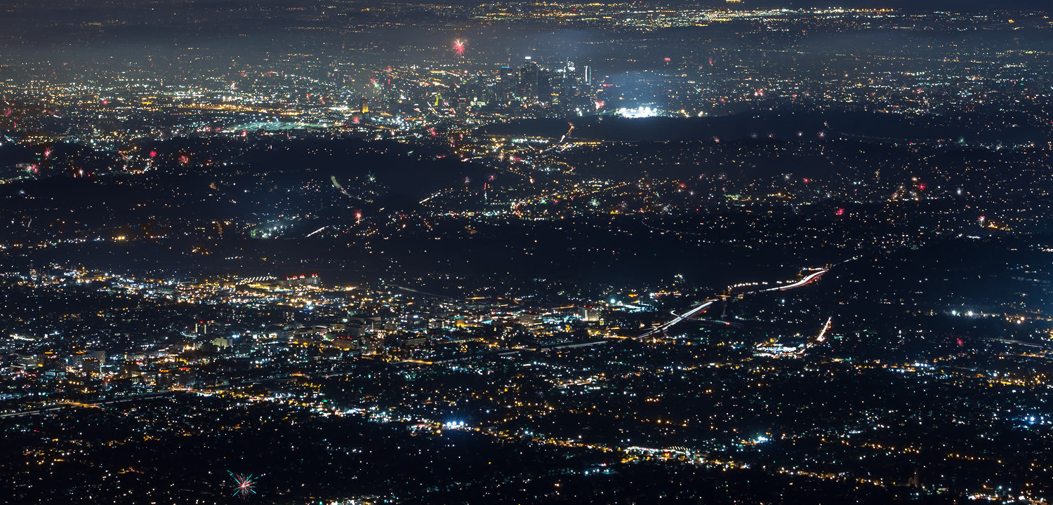 Los Angeles Fireworks From Mount Wilson
