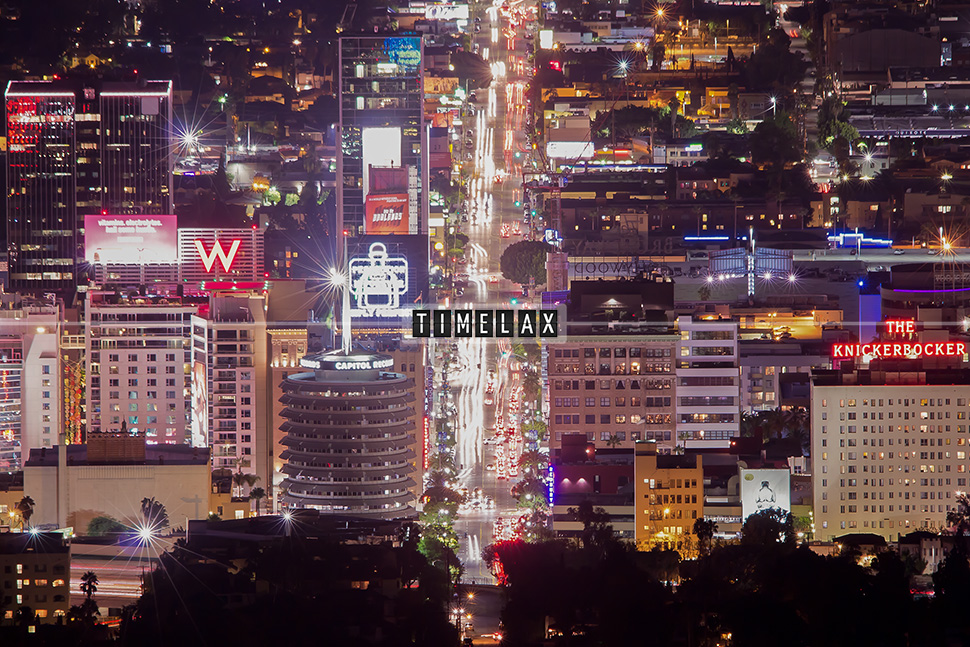 Los Angeles time-lapse Hollywood's Vine Street from Wonder View trail.